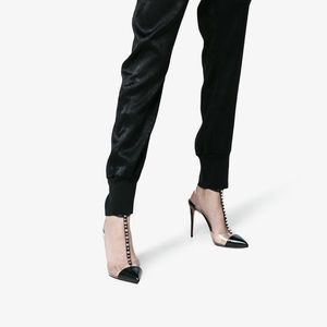 new style c6f00 f50cf Christian Louboutin 'Nosy Spikes' 100 mm in Black NWT